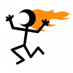 Flaming Head Hair on Fire Stick Figure
