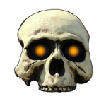 Halloween skull with orange glowing eyes